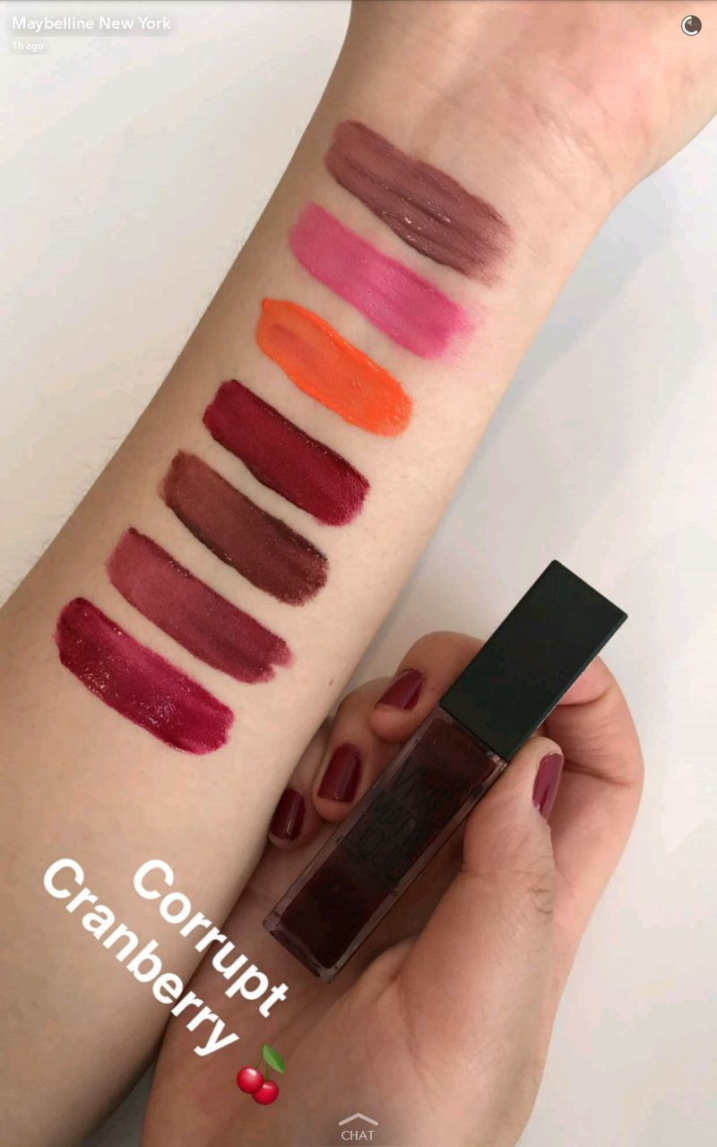 maybelline new vivid matte liquid lipstick swatches 8 corrupt cranberry