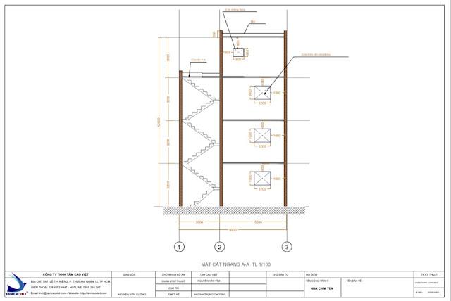 Thiết kế nhà yến 8x18x3 mặt cắt ngang