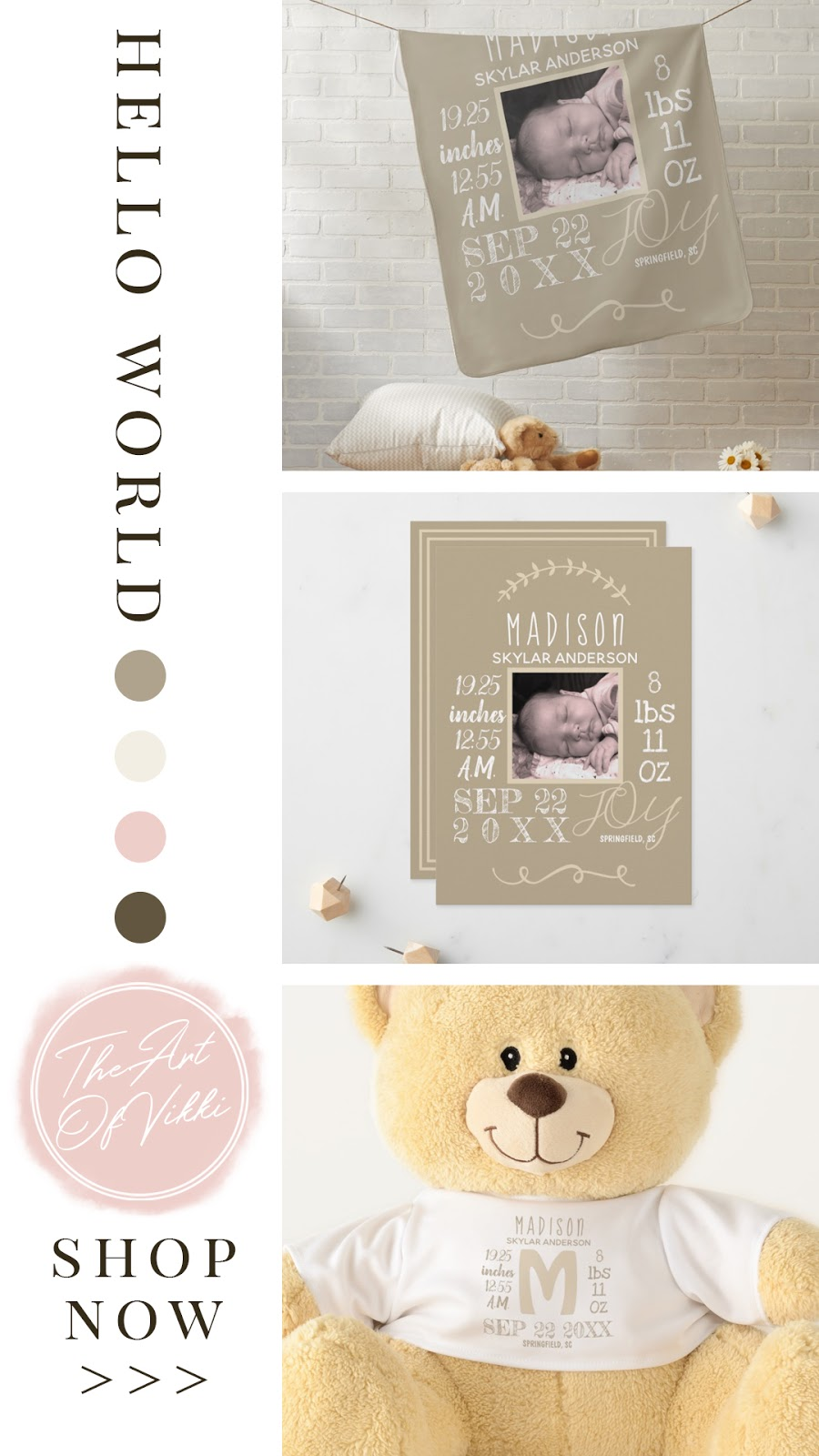 Welcome New Baby Rustic Nursery Suite collection. Featuring personalized birth stats on, keepsakes, pillows, blankets, and nursery decor. In a oak tree brown, vintage lace ivory white, ballet slipper pink, and burlap tan color palette.