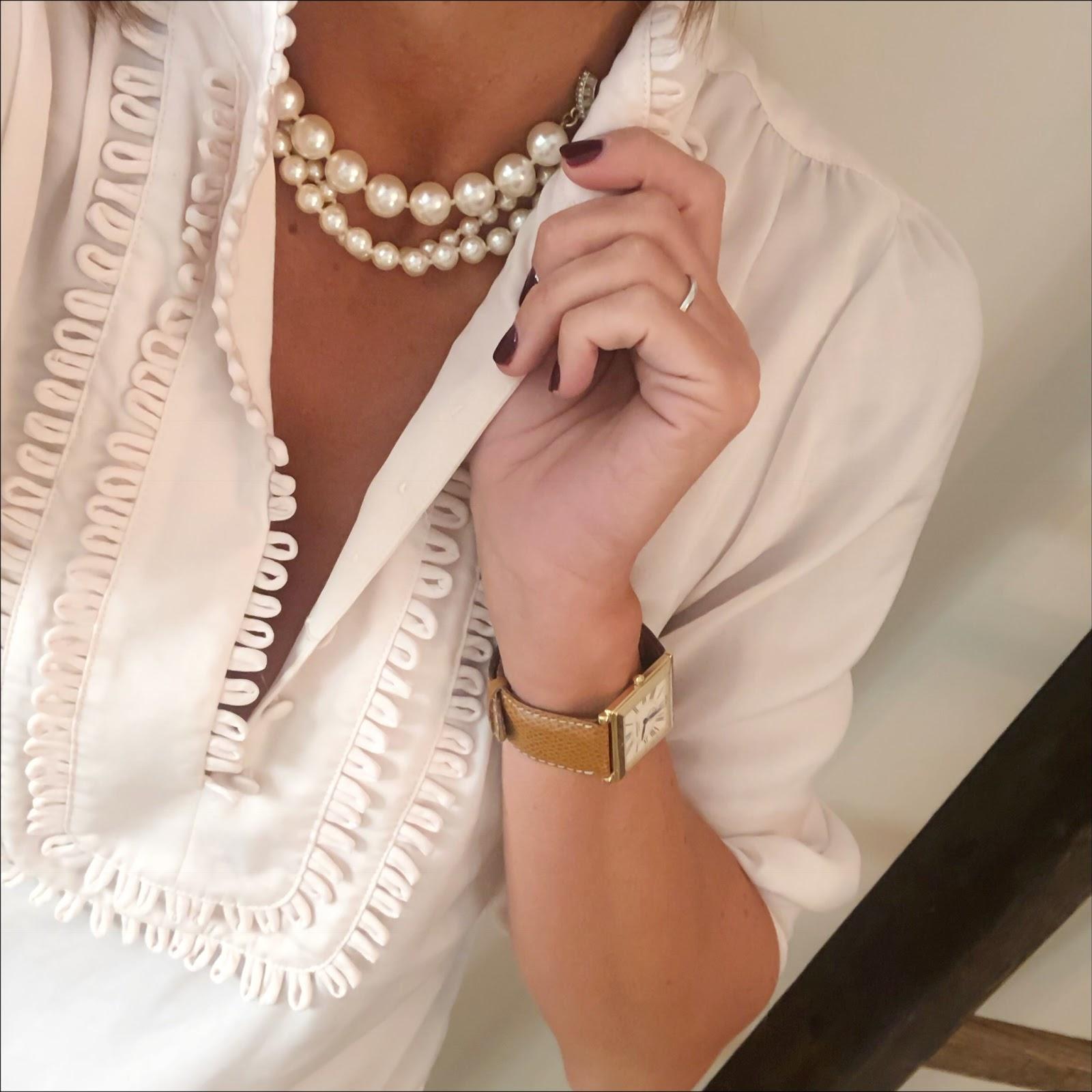 my midlife fashion, pearls, monsoon frill bib blouse, donna ida rixo skinny jeans, french sole henriette glitter ballet pumps