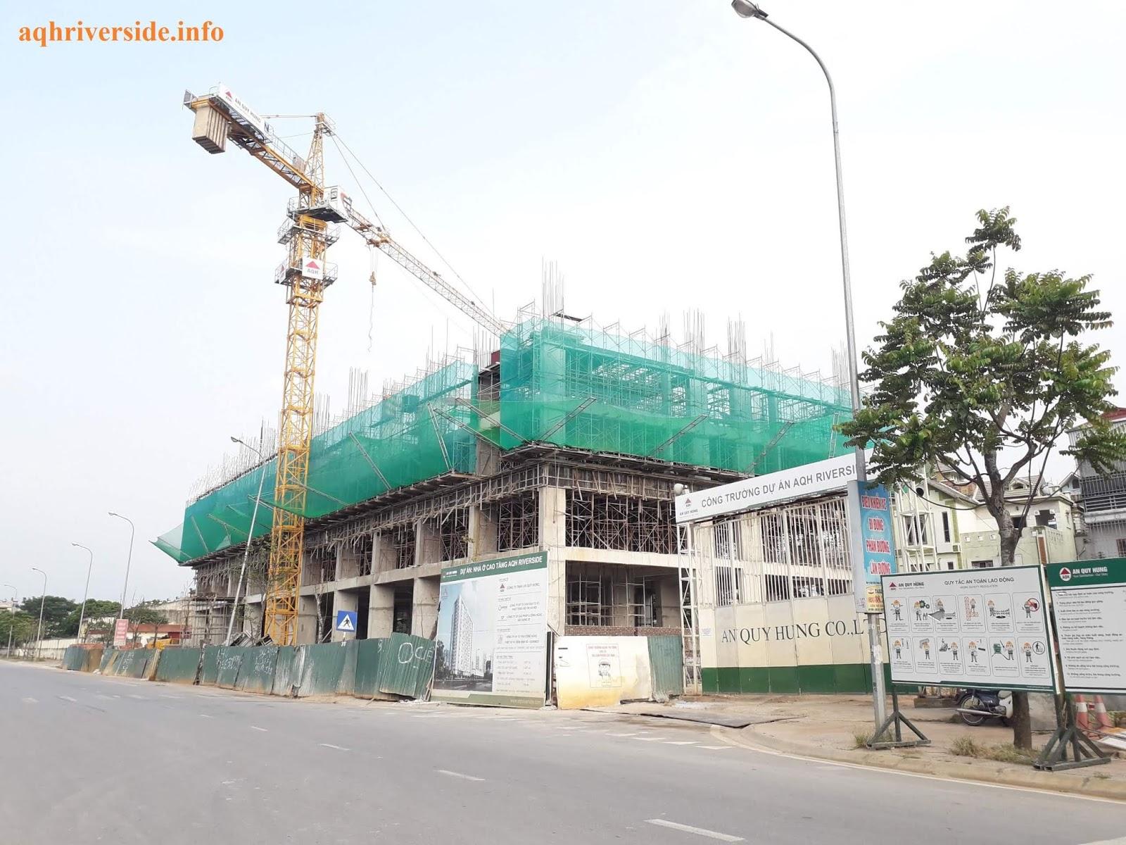 Cận cảnh tiến độ chung cư AQH Riverside Thượng Thanh.