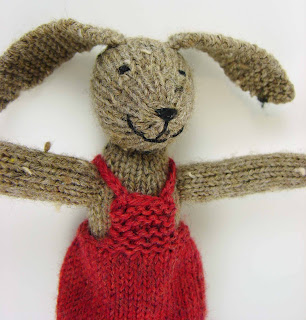 bunny rabbit toy stuffed animal knit brown red dress overalls heart valentines
