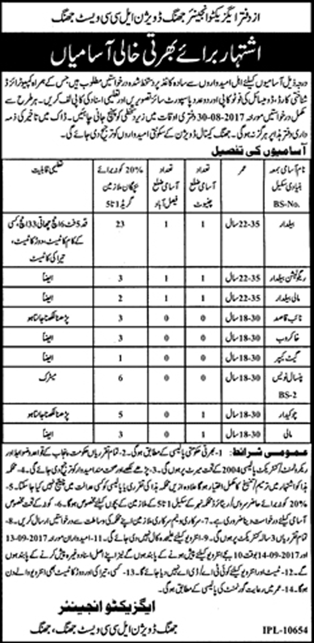 Jobs In Irrigation Department Govt Of The Punjab  Aug 2017