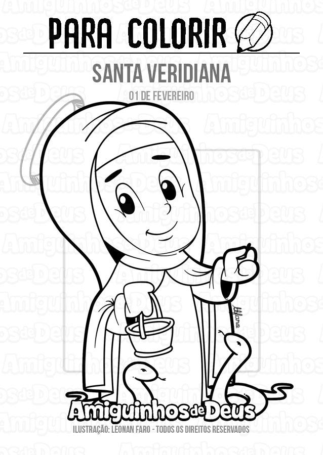 Santa Veridiana desenho para colorir