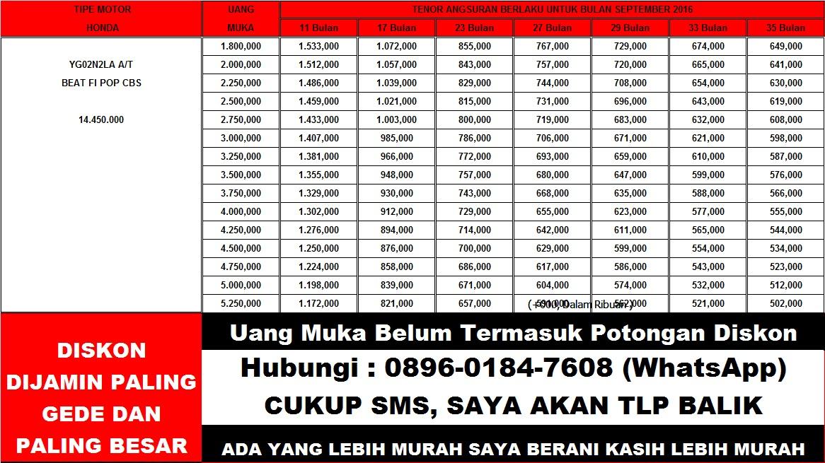 HONDA BEAT FI POP CBS TABEL ANGSURAN KREDIT MOTOR LEASING FIF FINANCE DP MURAH JAKARTA