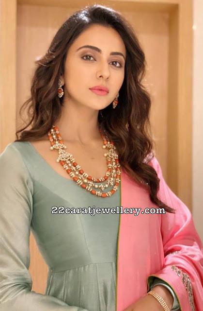 Rakul Preet Singh Coral Beads Diamond Set