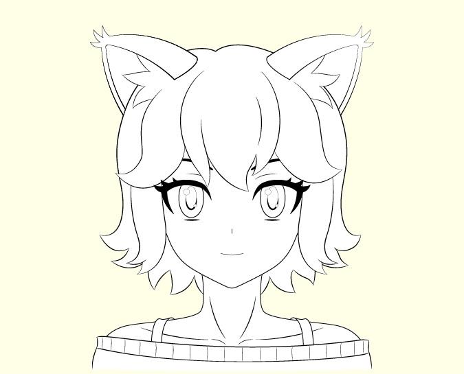 Gambar garis anime gadis kucing