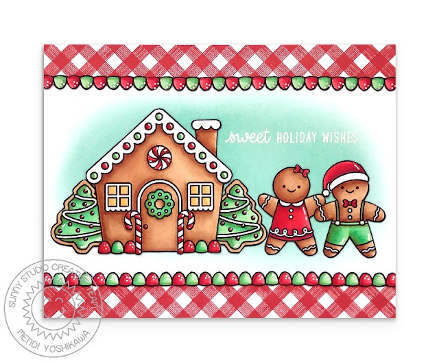 Sunny Studio Stamps: Jolly Gingerbread, Christmas Cookies & Background Basics Gingham House Handmade Card by Mendi Yoshikawa