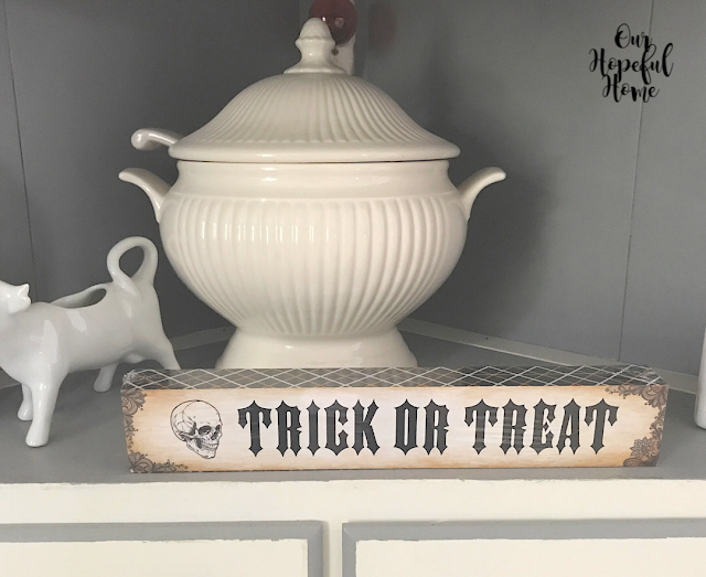 Dollar Tree Trick or Treat sign with skull