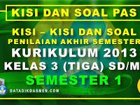 Penilaian Akhir Semester (PAS) Kelas 3 Semester 1 Tahun Pelajaran 2020 - 2021