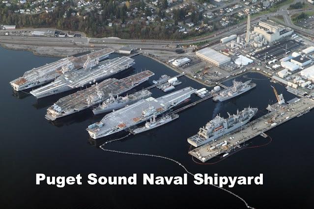 Disco sobre el astillero de barcos militares de EE. UU. Bremerton, Washington, el 1-21 de 2021 2