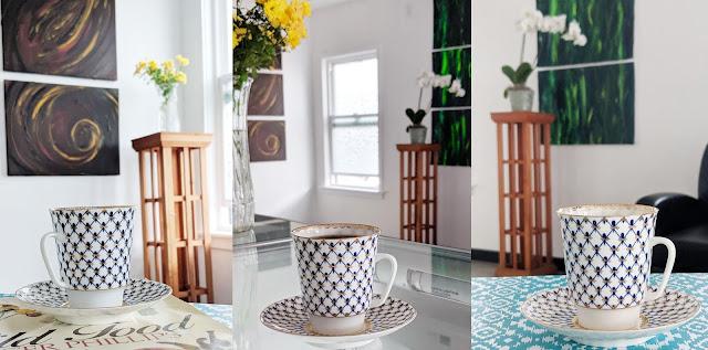 Portland new Cafe with coffee chocolate and herbs. Decor by artist Irina Sztukowski