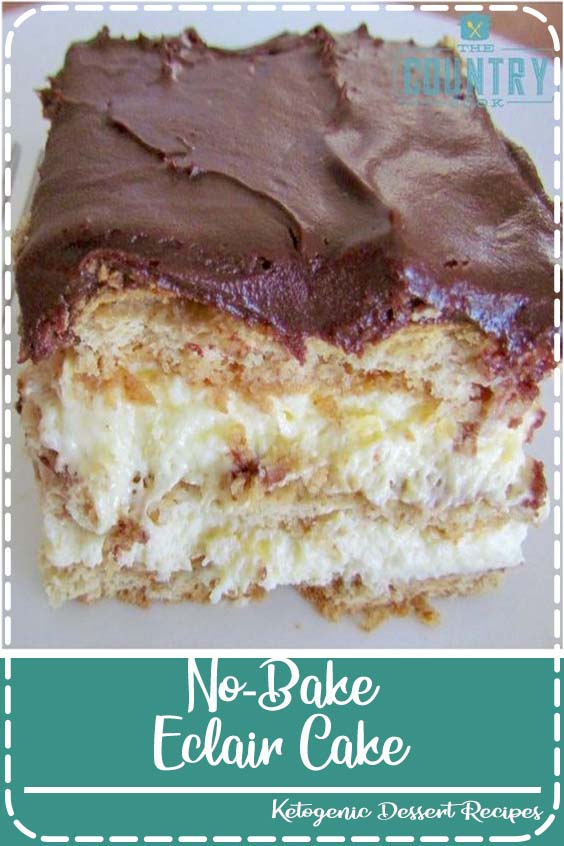 No-Bake Eclair Cake is a dessert that is layers of flavor: graham crackers, instant vanilla pudding, whipped topping and topped with chocolate frosting!