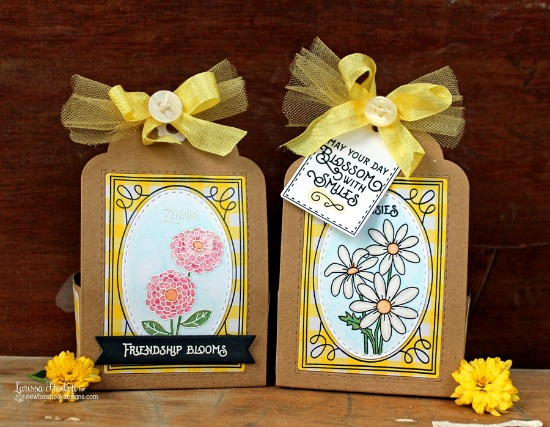 Flower Treat holders by Larissa Heskett | Garden Starter Stamp Set & Garden Window Die | Newton's Nook Designs #newtonsnook