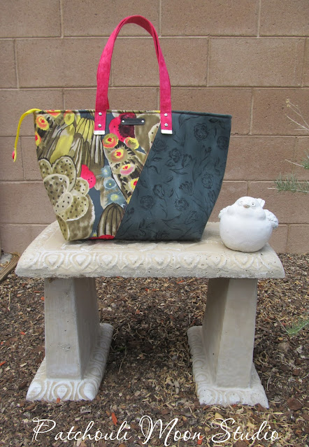 Large tote bag in cactus print and dark fabric sewn on an angle
