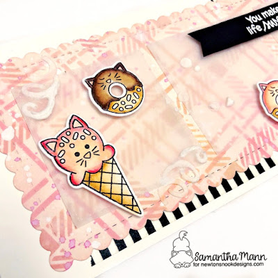 You Make Life Sweet Card by Samantha Mann for Newton's Nook Designs, Slimline Card, Cards, Card Making, Plaid, Die Cuts, Stencil, Cats, Donuts, Ice Cream, #newtonsnook #cards #cardmaking #slimline #slimlinecards #stencil #plaid #treats