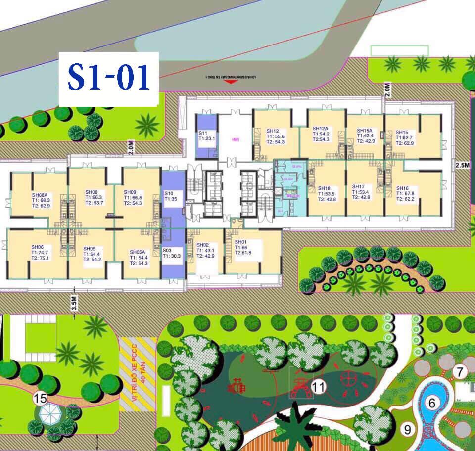 Mặt bằng toà S1 - 01 Shophouse dự án Vinhomes Tây Mỗ