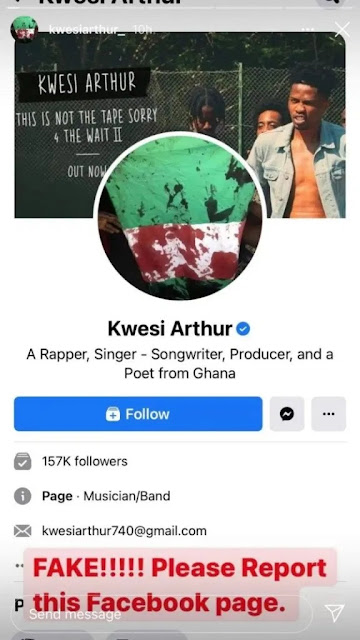 Fraud Alert! Check Out Singer Kwesi Arthur's Reaction After Facebook Verified His Fake Page
