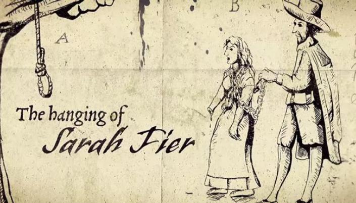 Imagem: uma ilustração dos créditos do primeiro filme em que se vê uma imagem do enforcamento de Sarah Fiers com uma ilustração de um homem colono conduzindo uma mulher de cabelos desgrenhados para uma forca.
