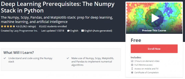 [100% FREE] Deep Learning Prerequisites: The Numpy Stack in Python