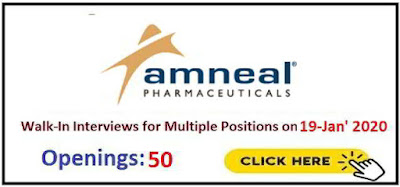 Amneal Pharmaceuticals Ltd walk-in interview for multiple positions on 19th Jan' 2020