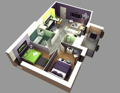 Contoh Gambar 3D Desain Rumah Minimalis Modern Terbaru 8
