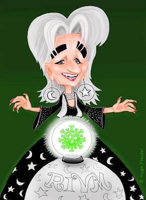 Waarzegster Marion Koopmans staat voor de glazen bol met corona erin en gebaart met handen