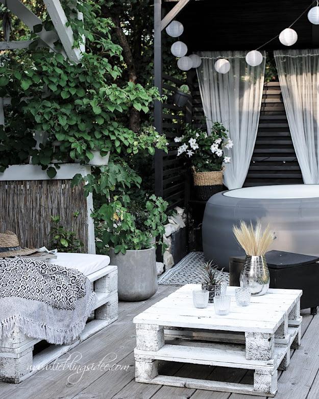Garten Gartendeko Lounge DIY Poolhaus Whirlpool Überdachung Palettensofa