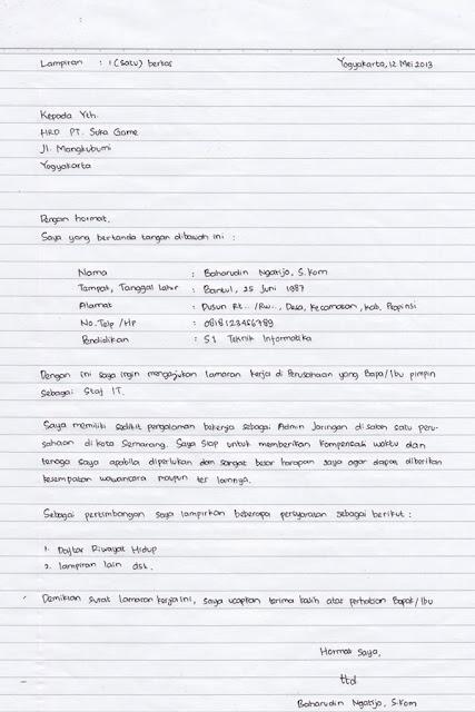 Contoh Surat Lamaran Kerja Tulis Tangan Yang Benar Dan Baik Contoh Seputar Surat