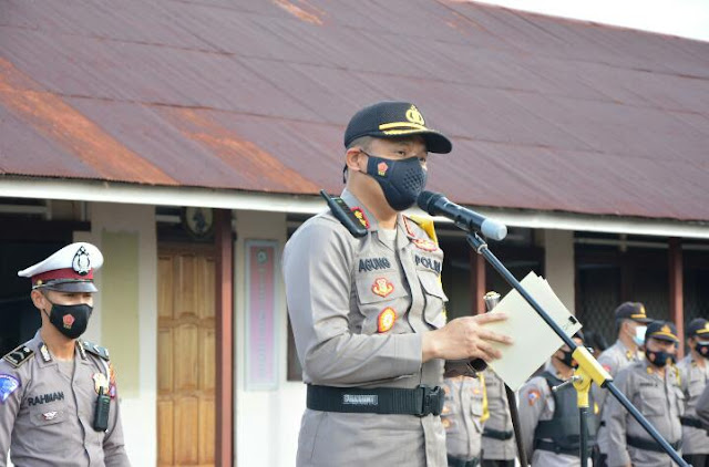 Kapolres Barsel Pimpin Upacara Penyambutan BKO Personel Polda Kalteng