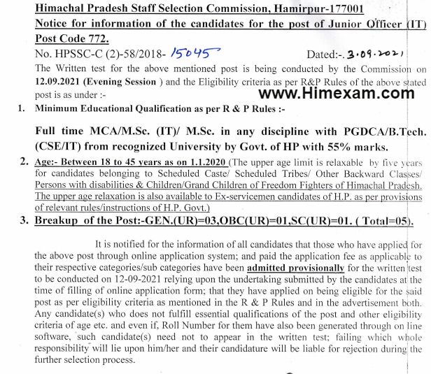 Important Notice For The Post Of Junior Officer (IT) Post Code-772:- HPSSC Hamirpur