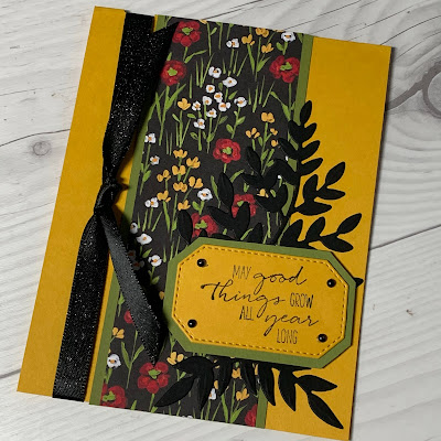 Birthday card using Dragonfly Garden sentiment and Flower & Field Designer Series Paper