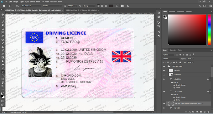 UK DRIVER LICENSE EDITABLE PSD TEMPLATE (@2020 VERSION)