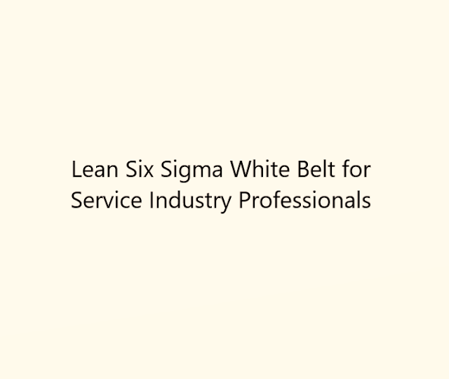 Lean Six Sigma White Belt for Service Industry Professionals