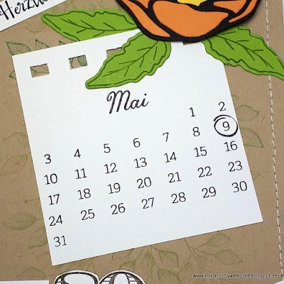 """Grußkarte zum runden Geburtstag mit Kalenderblatt aus """"Kreative Tage"""" Stampin' Up! www.eris-kreativwerkstatt.blogspot.de"""