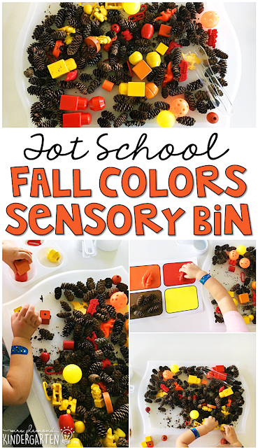 We LOVE this fall colors sensory bin. Great for tot school, preschool, or even kindergarten!