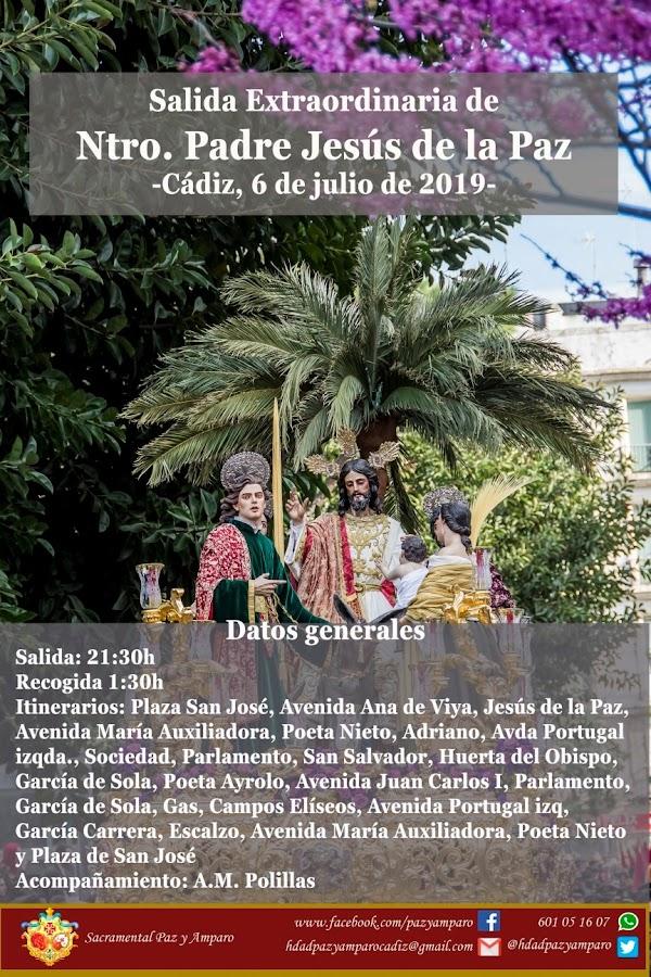 Horario e Itinerario Salida Extraordinaria de Ntro Padre Jesús de la Paz de Cádiz