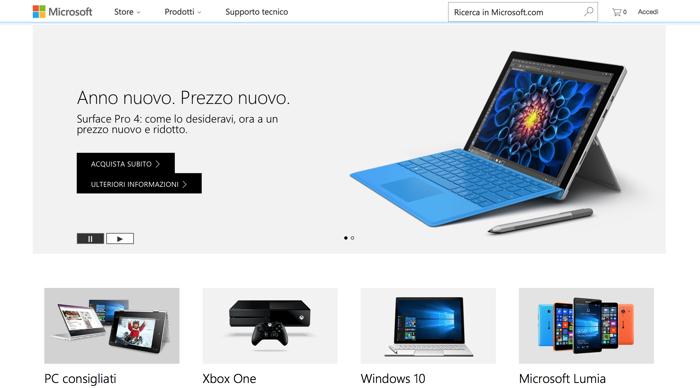 screenshot sito microsoft 2017