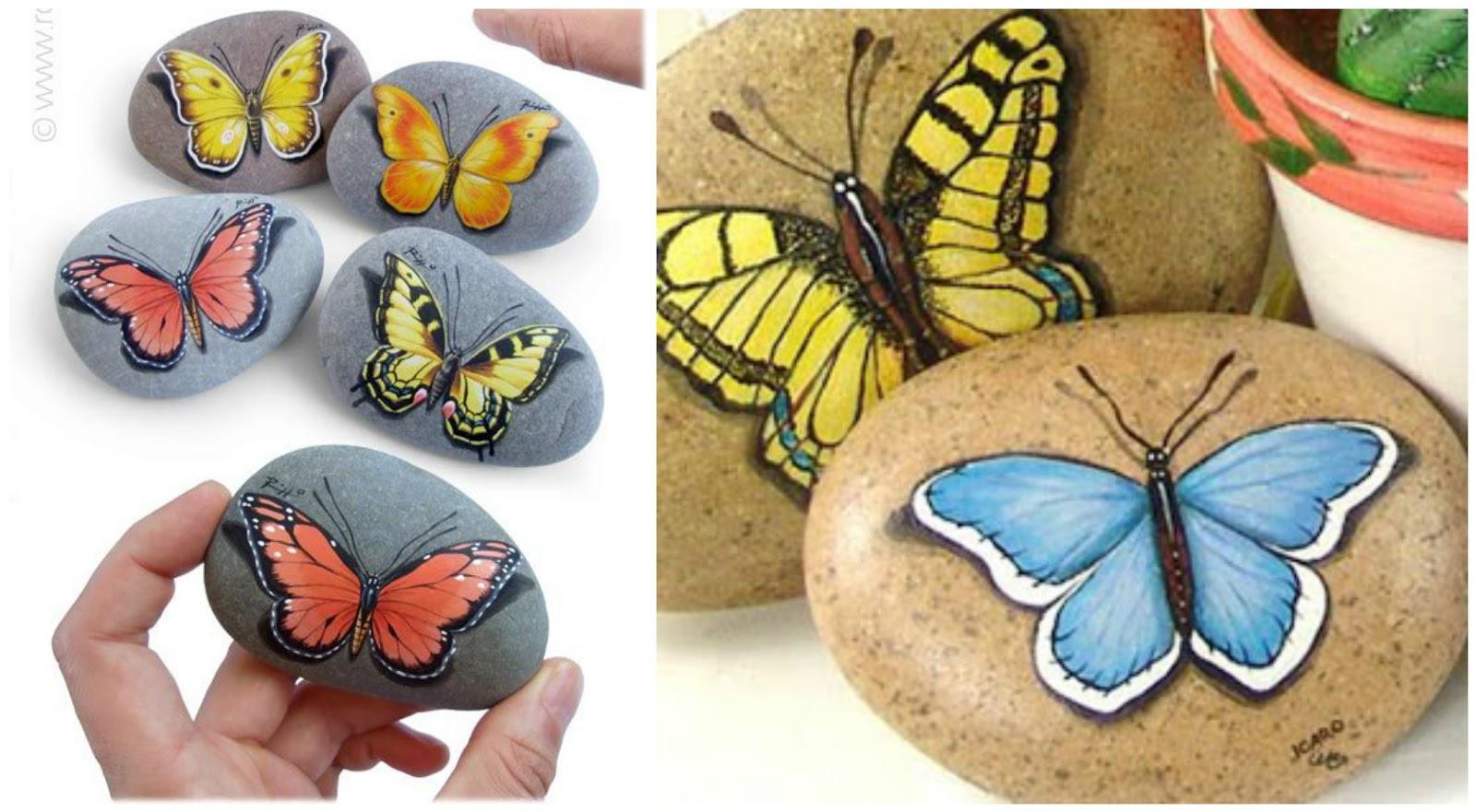 Ideas bonitas para pintar mariposas en piedras for Como decorar plantas con piedras