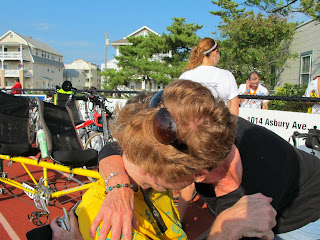 Mom and I hugging after the ride.