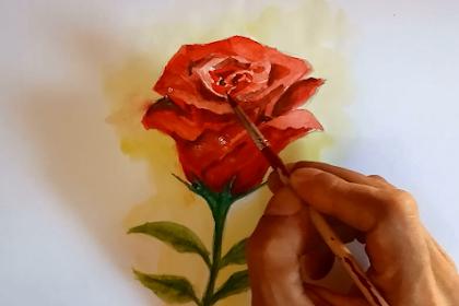Menggambar dan Mewarnai Mawar Menggunakan Catair