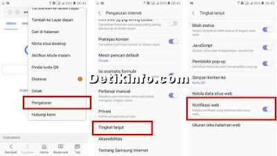 Cara matikan Notifikasi Web Browser Samsung