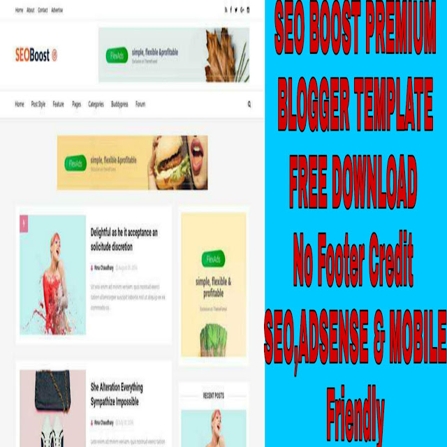 SEO BOOST Premium Blogger Template  Free Download -Mobile  Friendly, Seo Friendly and Google Adsense Friendly