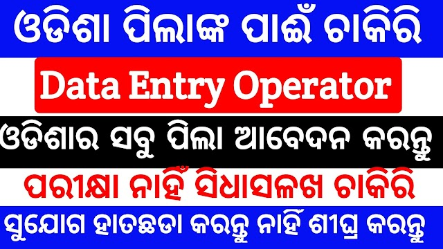 Data entry operator job in odisha Full time job In baleswar