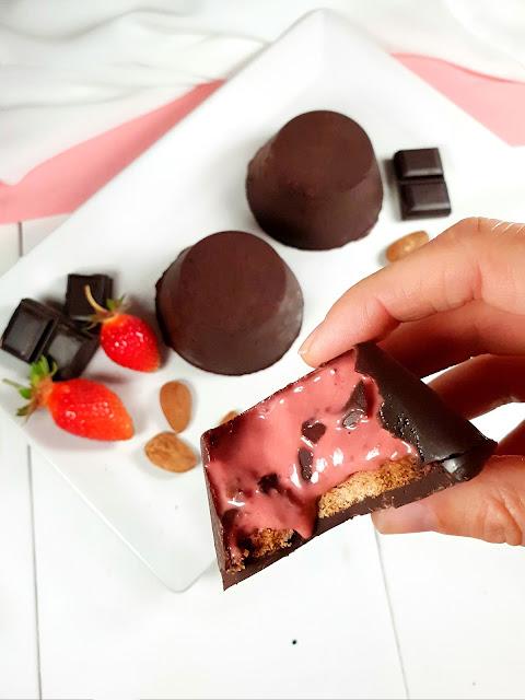 bouchées chocolat fraise, sans gluten, sans lactose