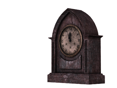 An antique wooden clock reading five-minutes-to-twelve.