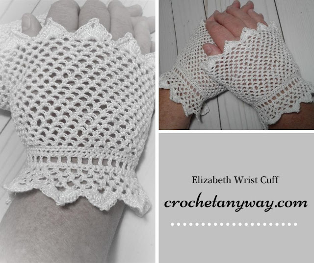 black and white picture of crocheted vintage looking wrist cuffs for costume or cosplay or wedding