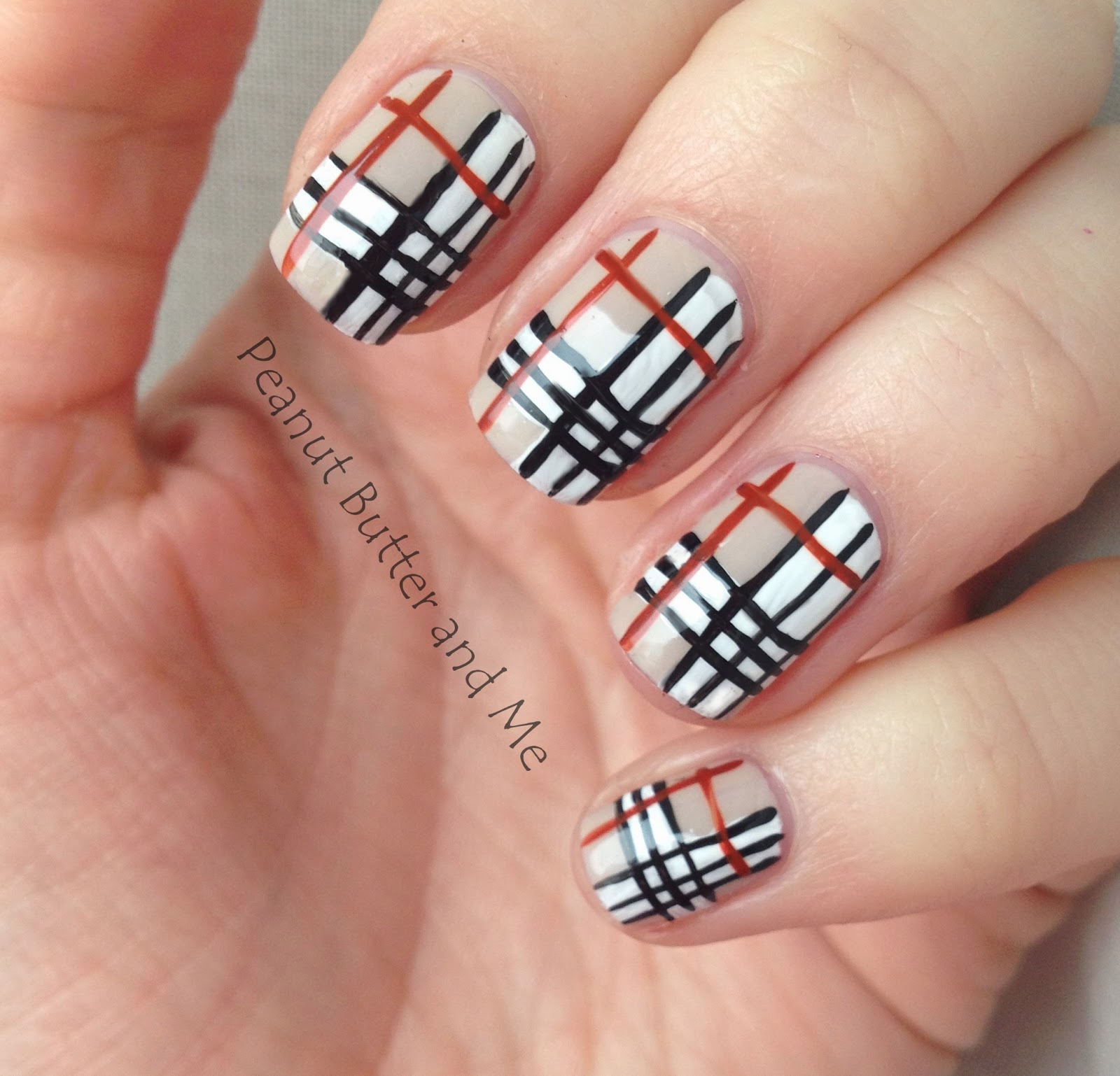 essie saint tropez nails poshe burberry grid art