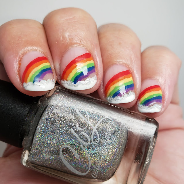 rainbow nail art, bliss polish, nail art