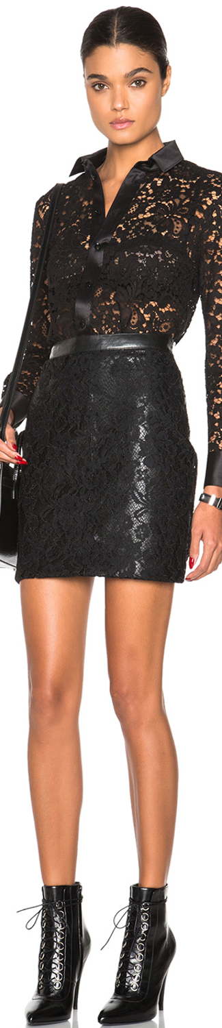 Saint Laurent Leather and Lace Skirt